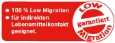 low migration Etiketten certificate