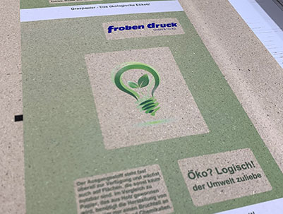 Froben Druck Produkte: Etiketten aus Graspapier